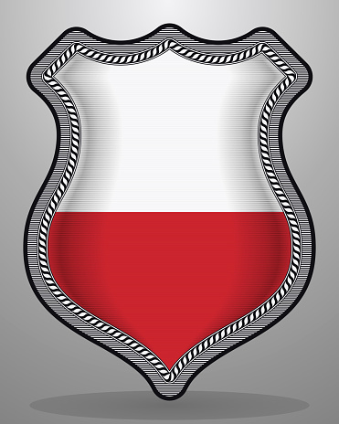 Flag of Poland. Vector Badge and Icon. Horizontal Orientation Version