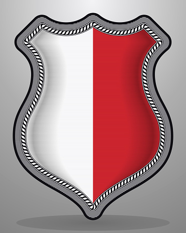 Flag of Poland. Vector Badge and Icon. Vertical Orientation Version