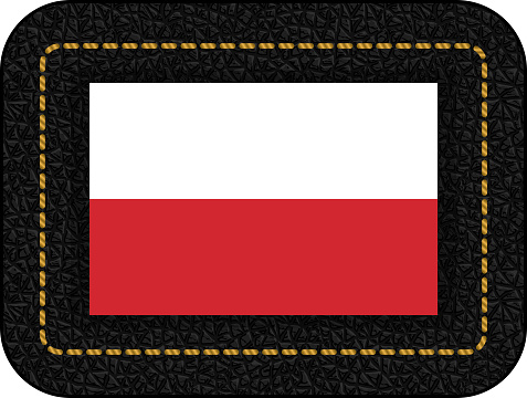 Flag of Poland. Vector Icon on Black Leather Backdrop. Aspect Ratio 2:3