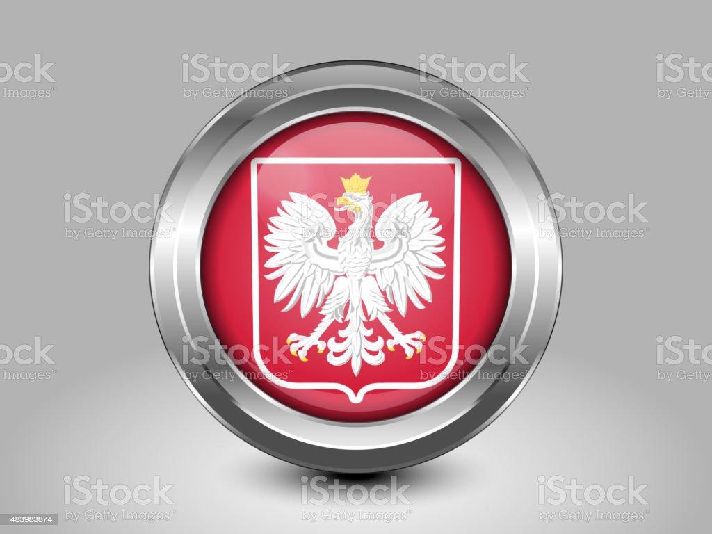 Bandera de Polonia con Eagle. Icono redonda de Metal - ilustración de arte vectorial