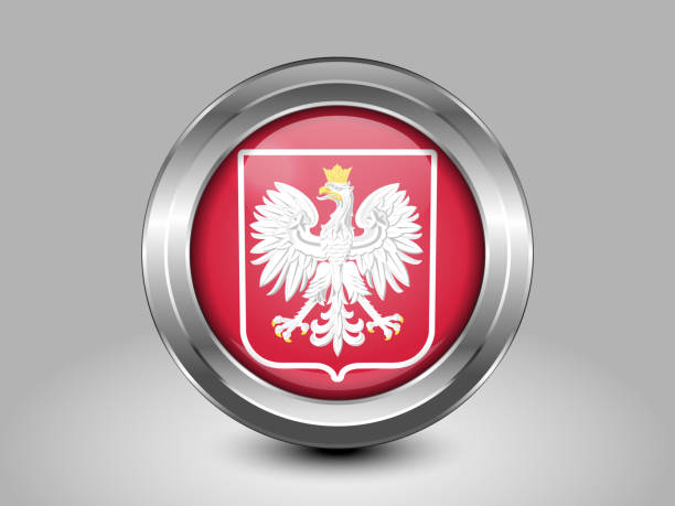 flag of poland with eagle. metal round icon - polish flag stock illustrations, clip art, cartoons, & icons