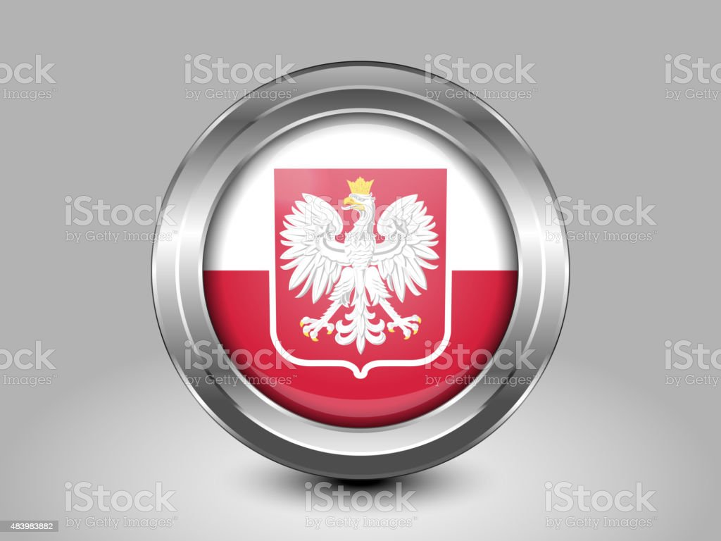 Flag of Poland with Eagle. Metal Round Icon vector art illustration