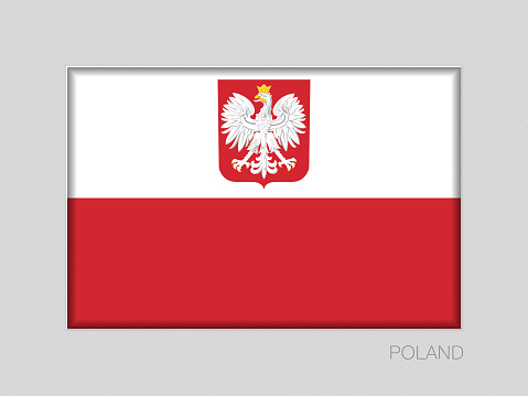 Flag of Poland with Eagle. National Ensign Aspect Ratio 2 to 3 on Gray Cardboard