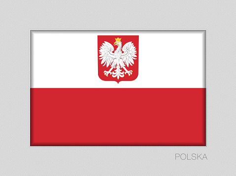 Flag of Poland with Eagle. National Ensign Aspect Ratio 2 to 3 on Gray Cardboard. Written in Polish