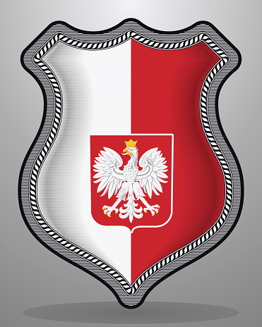 Flag of Poland with Eagle. Vector Badge and Icon. Vertical Orientation Version