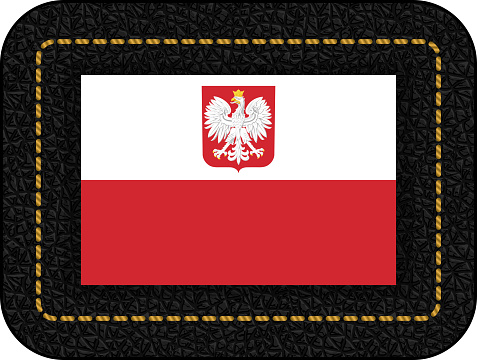 Flag of Poland with Eagle. Vector Icon on Black Leather Backdrop. Aspect Ratio 2:3