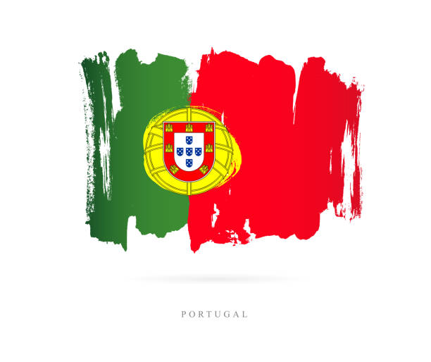 flaga portugalii. ilustracja wektorowa - lizbona stock illustrations