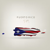 Flag of PUERTO RICO as a country with a shadow
