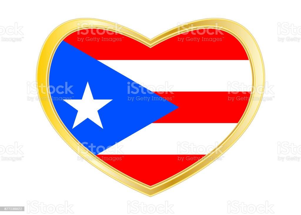 Flagge Von Puerto Rico In Herz Form Goldener Rahmen Stock Vektor Art ...
