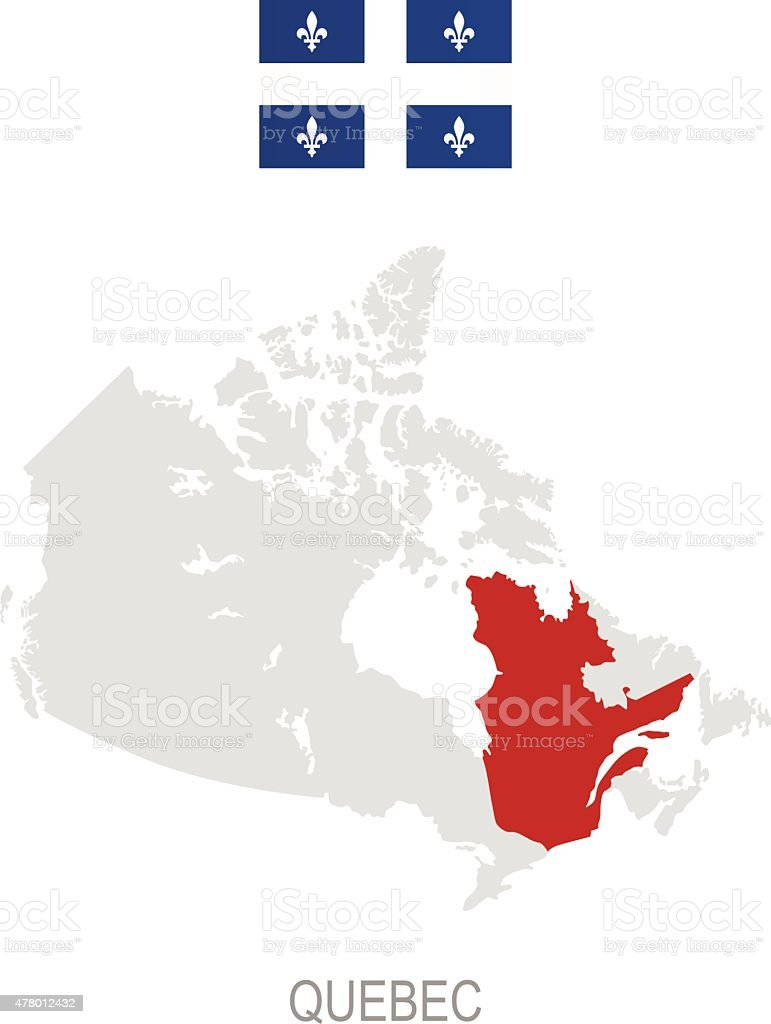 Flag Of Quebec And Location On Canada Map Stock Vector Art More