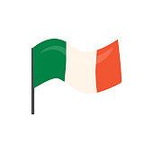 Flag of reland. Element for St. Patrick s Day. Cartoon illustration for pub invitation, t-shirt design, cards or decor