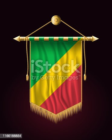 Flag of Republic of the Congo. Festive Vertical Banner. Wall Hangings with Gold Tassel Fringing