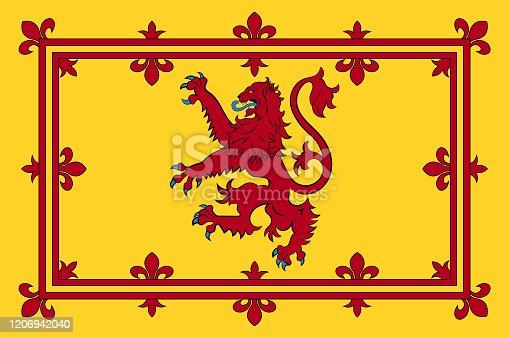 Flag of Royal Standard of the Kingdom of Scotland. Vector illustration