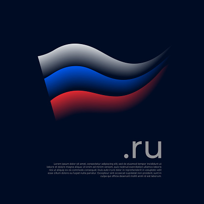 Flag of russia. Colored stripes of the russian flag on a dark background. Vector stylized design national poster with ru domain, place for text. Tricolor. State patriotic banner russia, cover