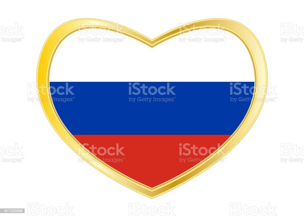 Flagge Von Russland In Herz Form Goldener Rahmen Stock Vektor Art ...