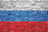 Flag of Russia on a brick wall