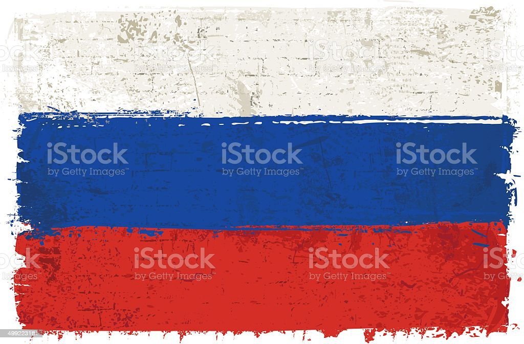 Flag of Russia on Wall vector art illustration