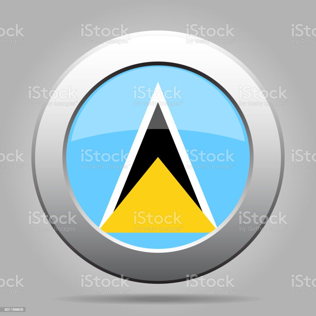 Flag of Saint Lucia. Metal gray round button. vector art illustration