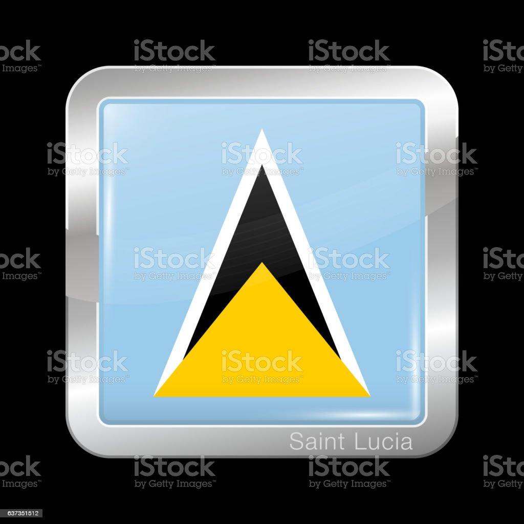 Flag of Saint Lucia. Metal Icon Square Shape vector art illustration