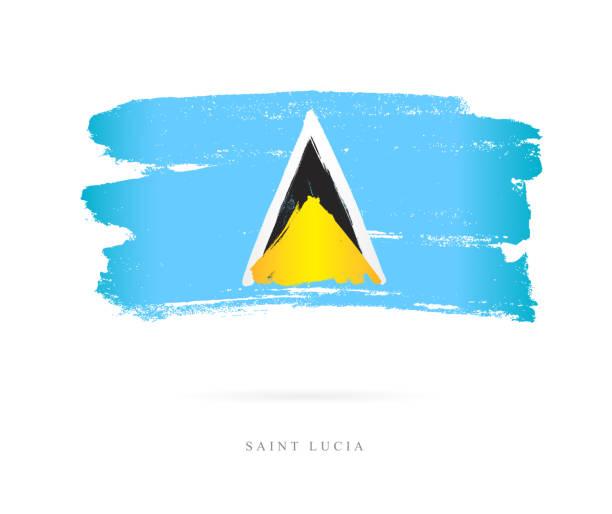 bildbanksillustrationer, clip art samt tecknat material och ikoner med flaggan i saint lucia. vektorillustration - saint lucia