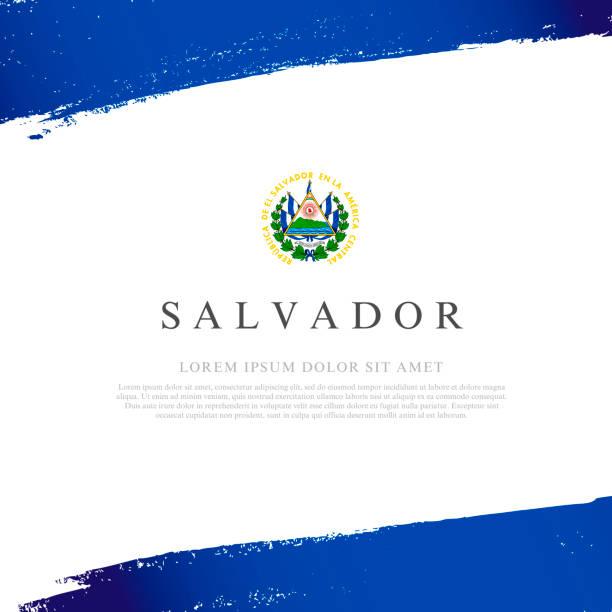 Flagge von Salvador. Vektor-Illustration auf weißem Hintergrund. Pinselstriche – Vektorgrafik