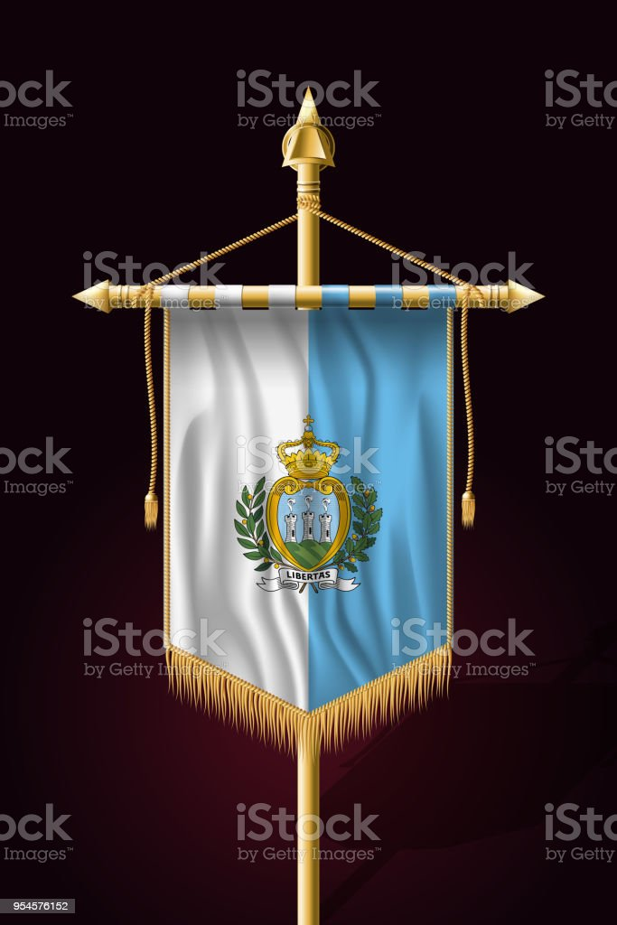 Flag of San Marino. Festive Vertical Banner. Wall Hangings with Gold Tassel Fringing vector art illustration