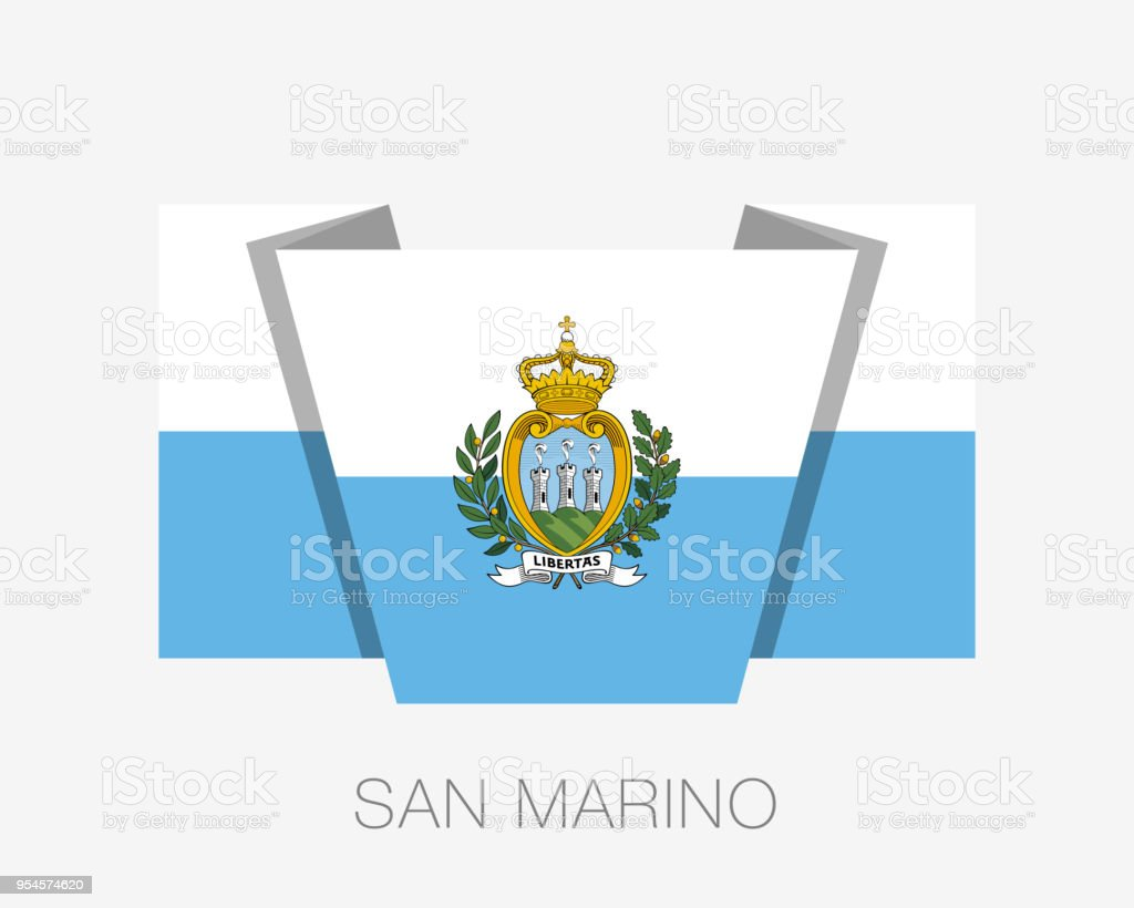 Flag of San Marino. Flat Icon Waving Flag with Country Name on a White Background vector art illustration
