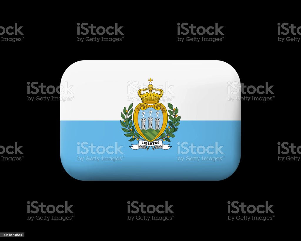 Flag of San Marino. Matted Vector Icon and Button. Rectangular Shape with Rounded Corners vector art illustration