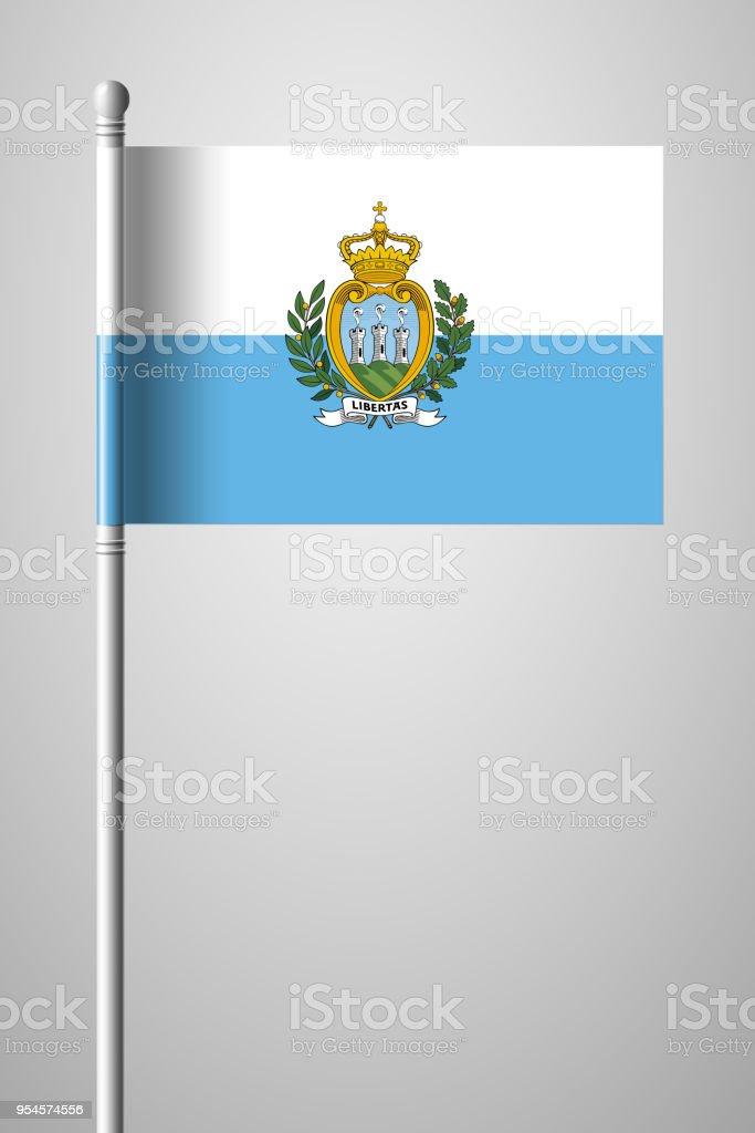 Flag of San Marino. National Flag on Flagpole. Isolated Illustration on Gray Background vector art illustration
