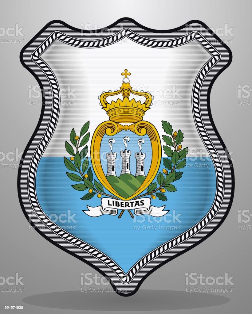 Flag of San Marino. Vector Badge and Icon. Horizontal Orientation Version vector art illustration