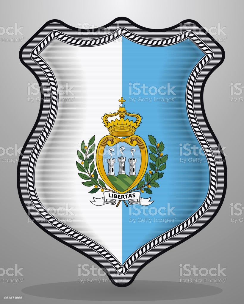 Flag of San Marino. Vector Badge and Icon. Vertical Orientation Version vector art illustration