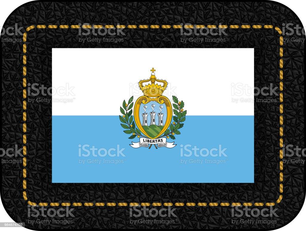 Flag of San Marino. Vector Icon on Black Leather Backdrop. Aspect Ratio 2:3 vector art illustration