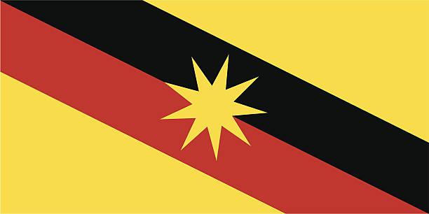 flagge von sarawak - kuching stock-grafiken, -clipart, -cartoons und -symbole