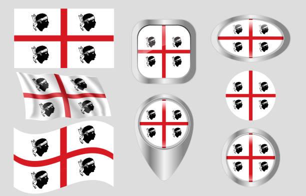 illustrazioni stock, clip art, cartoni animati e icone di tendenza di bandiera della sardegna, italia - sardegna