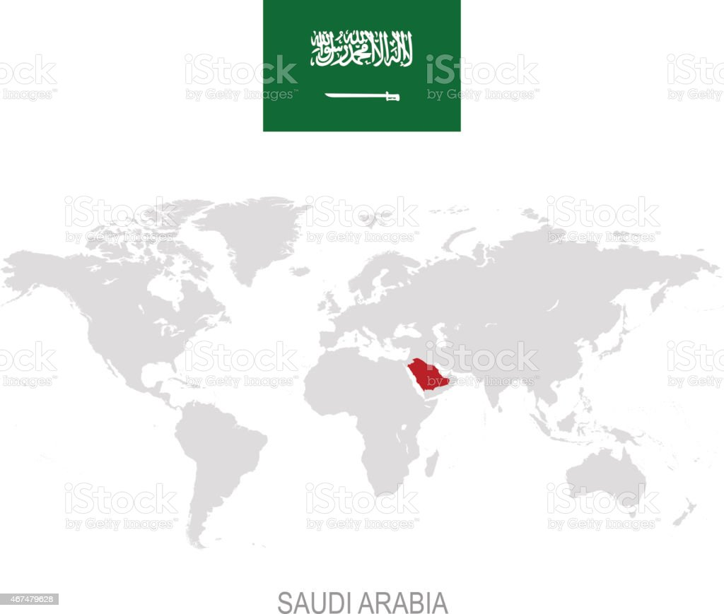 Flag Of Saudi Arabia And Designation On World Map Stock Vector Art - Where is saudi arabia on the world map