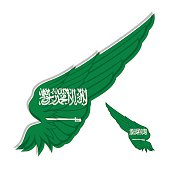 flag of Saudi Arabia on abstract Wing and white background.