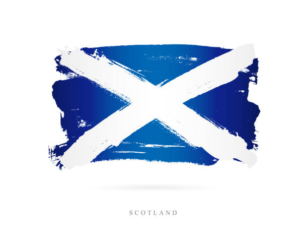 Flag of Scotland. Vector illustration Flag of Scotland. Vector illustration on white background. Beautiful brush strokes. Abstract concept. Elements for design. alba stock illustrations