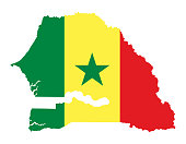 Flag of Senegal in country silhouette