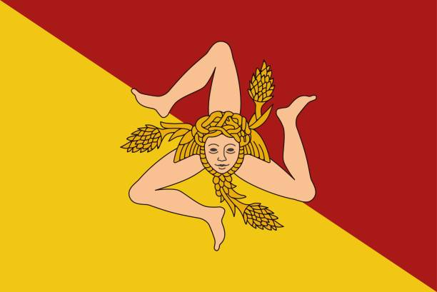 flag of sicily vector illustration. - sicily stock illustrations