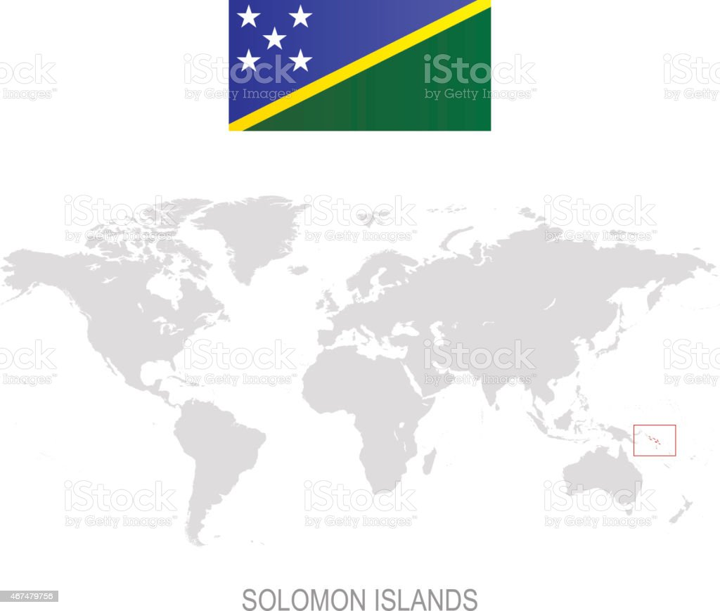 Solomon Islands World Map.Flag Of Solomon Islands And Designation On World Map Stock Vector