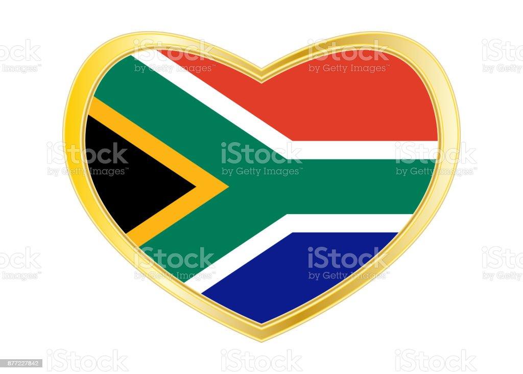 Flagge Von Südafrika In Herz Form Goldener Rahmen Stock Vektor Art ...
