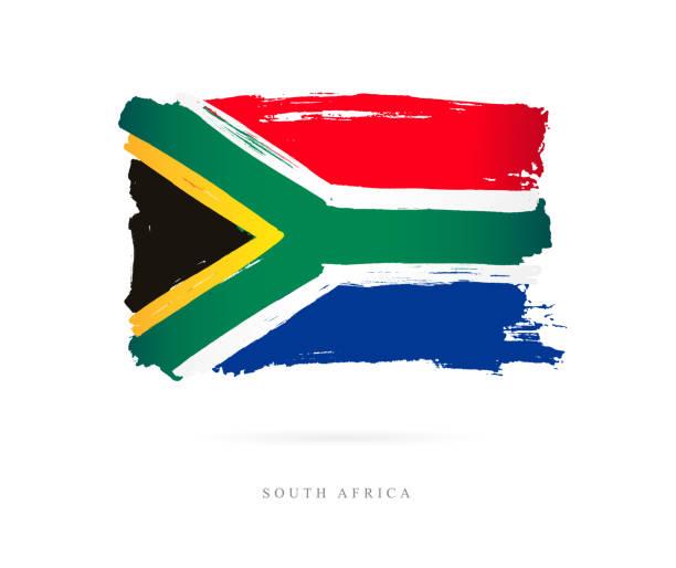 bildbanksillustrationer, clip art samt tecknat material och ikoner med flaggan i sydafrika. vektorillustration - south africa