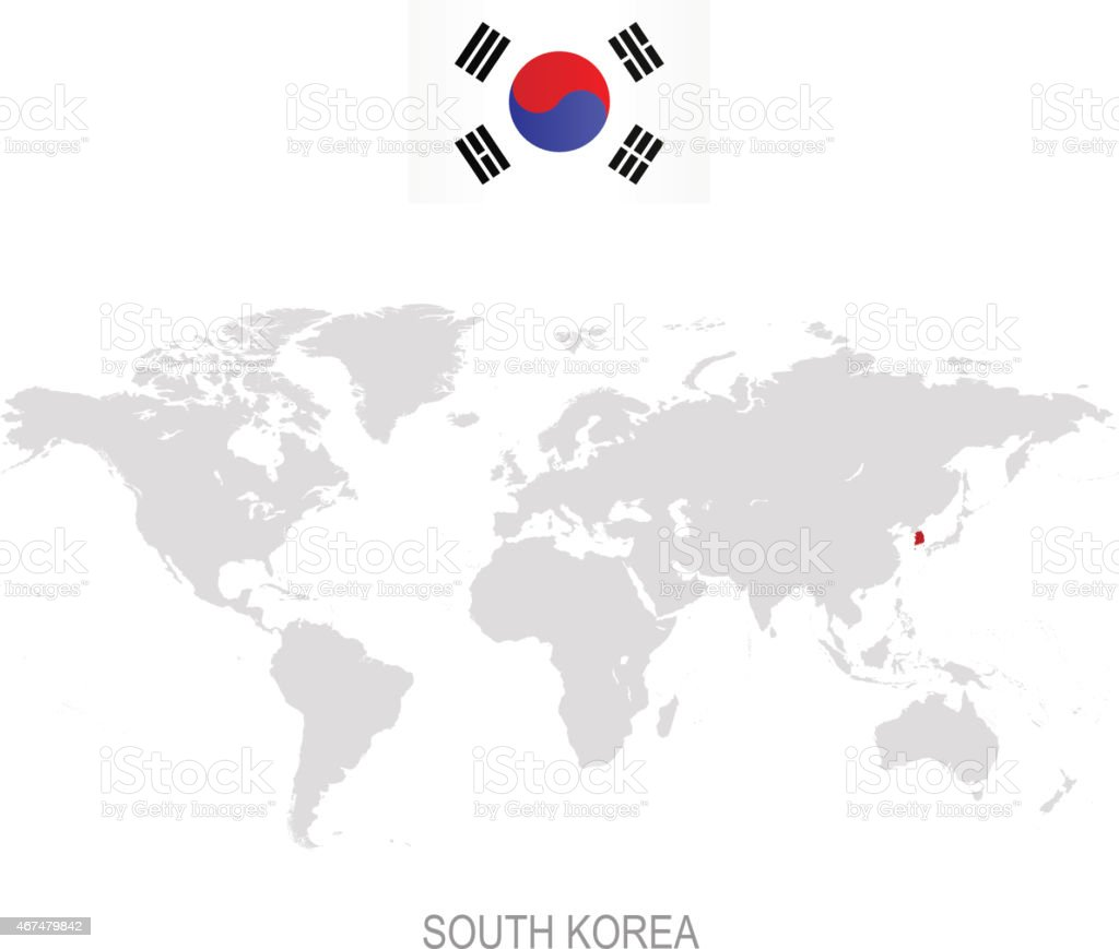 Flag Of South Korea And Designation On World Map Stock Vector Art ...