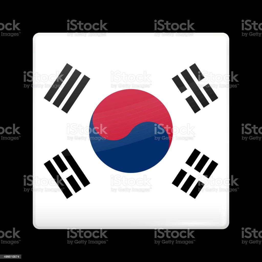 Flag of South Korea. Glassy Icon Square Shape vector art illustration