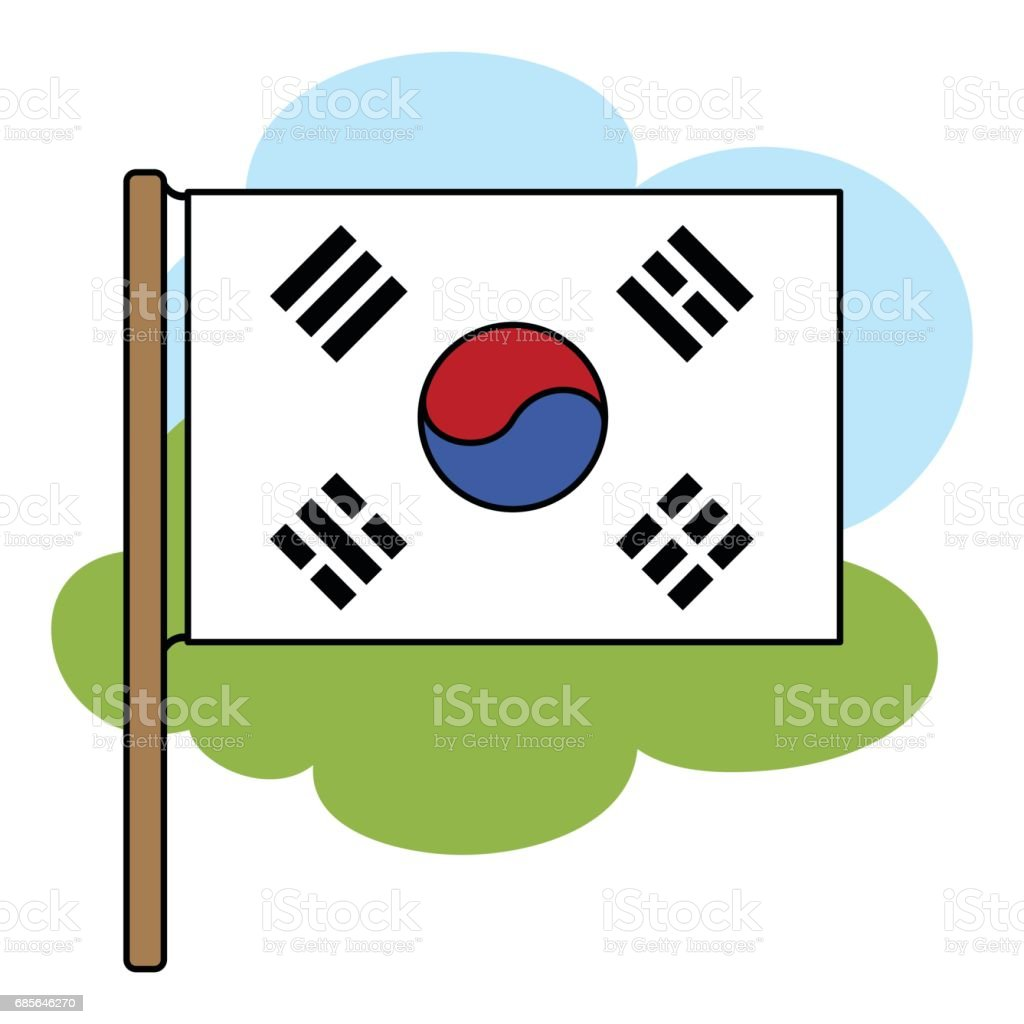 Flag of South Korea icon in cartoon style isolated on white background. South Korea symbol stock vector illustration. royalty-free flag of south korea icon in cartoon style isolated on white background south korea symbol stock vector illustration 국기에 대한 스톡 벡터 아트 및 기타 이미지