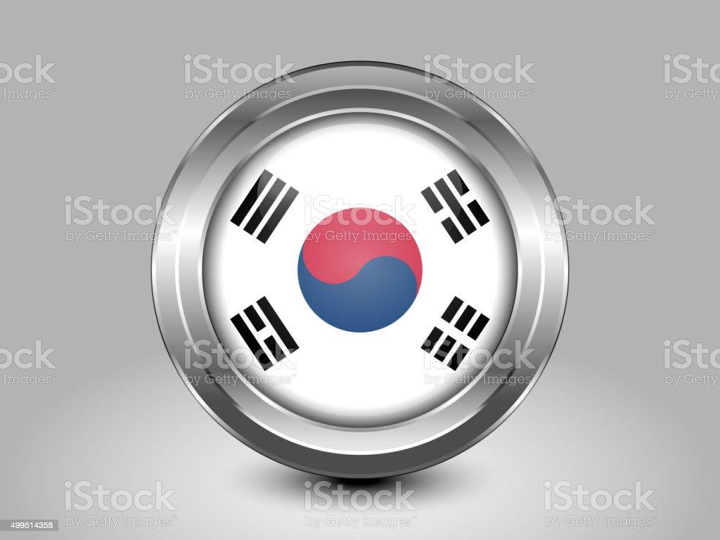 Flag of South Korea. Metal Round Icon vector art illustration
