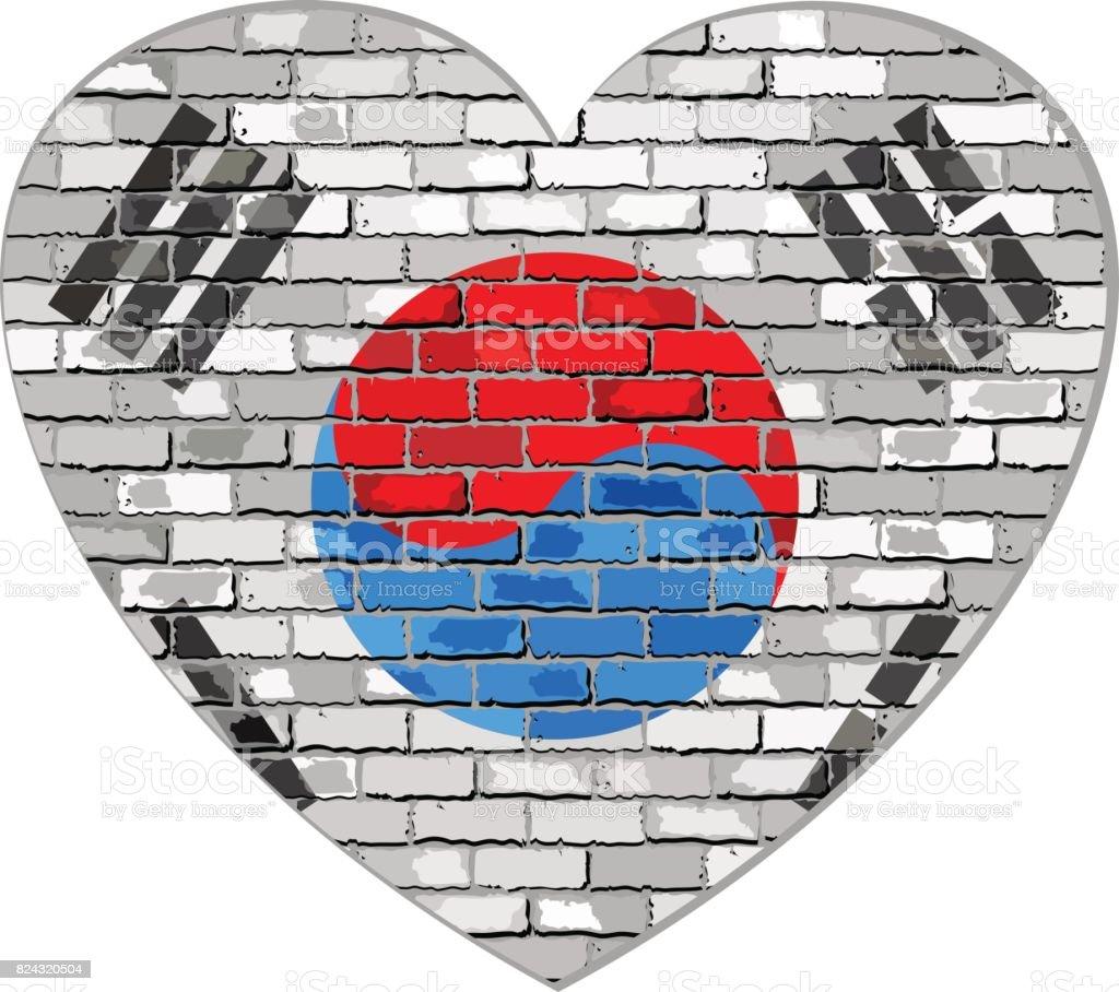Bandeira da Coreia do Sul em um tijolo de parede em forma de coração - ilustração de arte em vetor