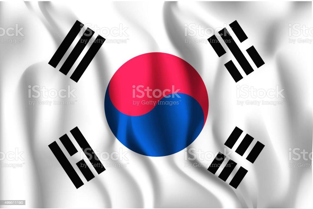 Flag of South Korea. Rectangular Shape Icon vector art illustration