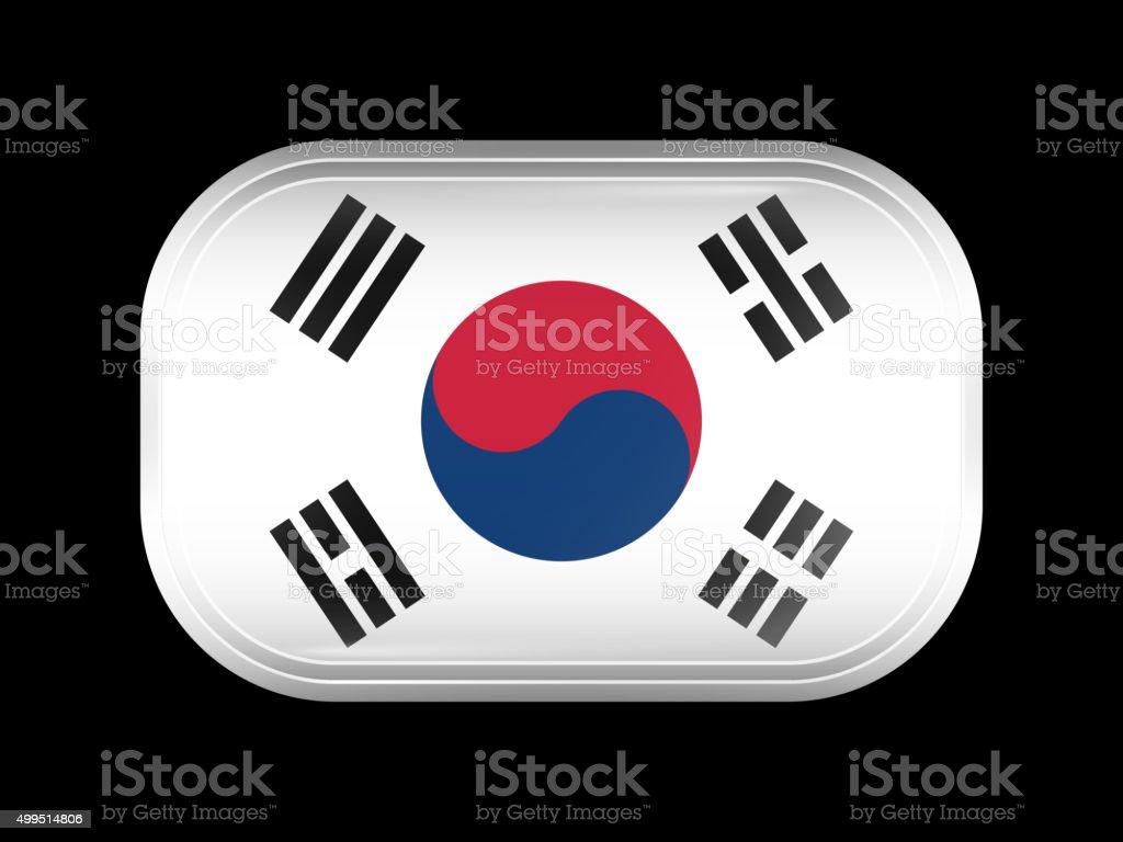 Flag of South Korea. Rectangular Shape with Rounded Corners vector art illustration