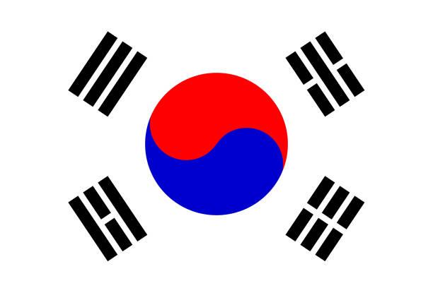 stockillustraties, clipart, cartoons en iconen met vlag van zuid-korea - zuid korea
